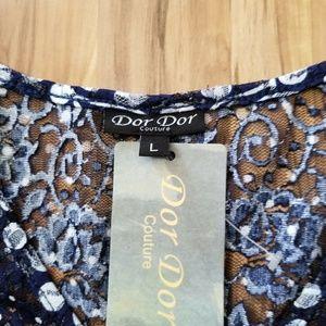 Dor Dor Couture Tops - Sheer Navy & White Boho Blouse
